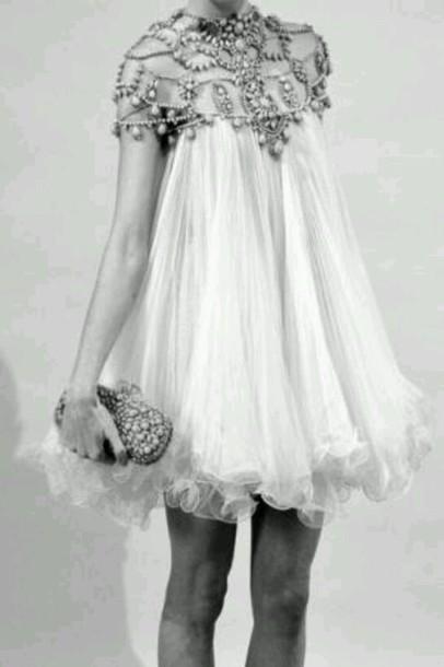 Dress Vintage Pearl Girly Short Dress Wedding Dress Beaded