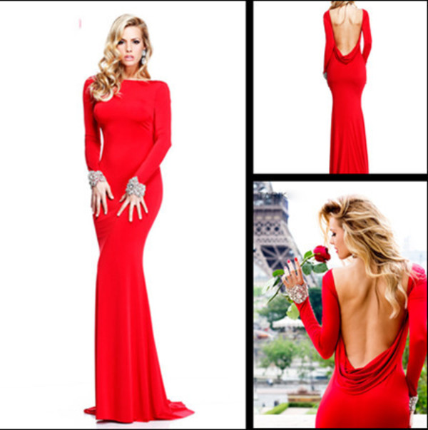 red dress charming prom dress open back dresses red mermaid prom dress long sleeve dress evening dress formal dress party dress cocktail dress gown