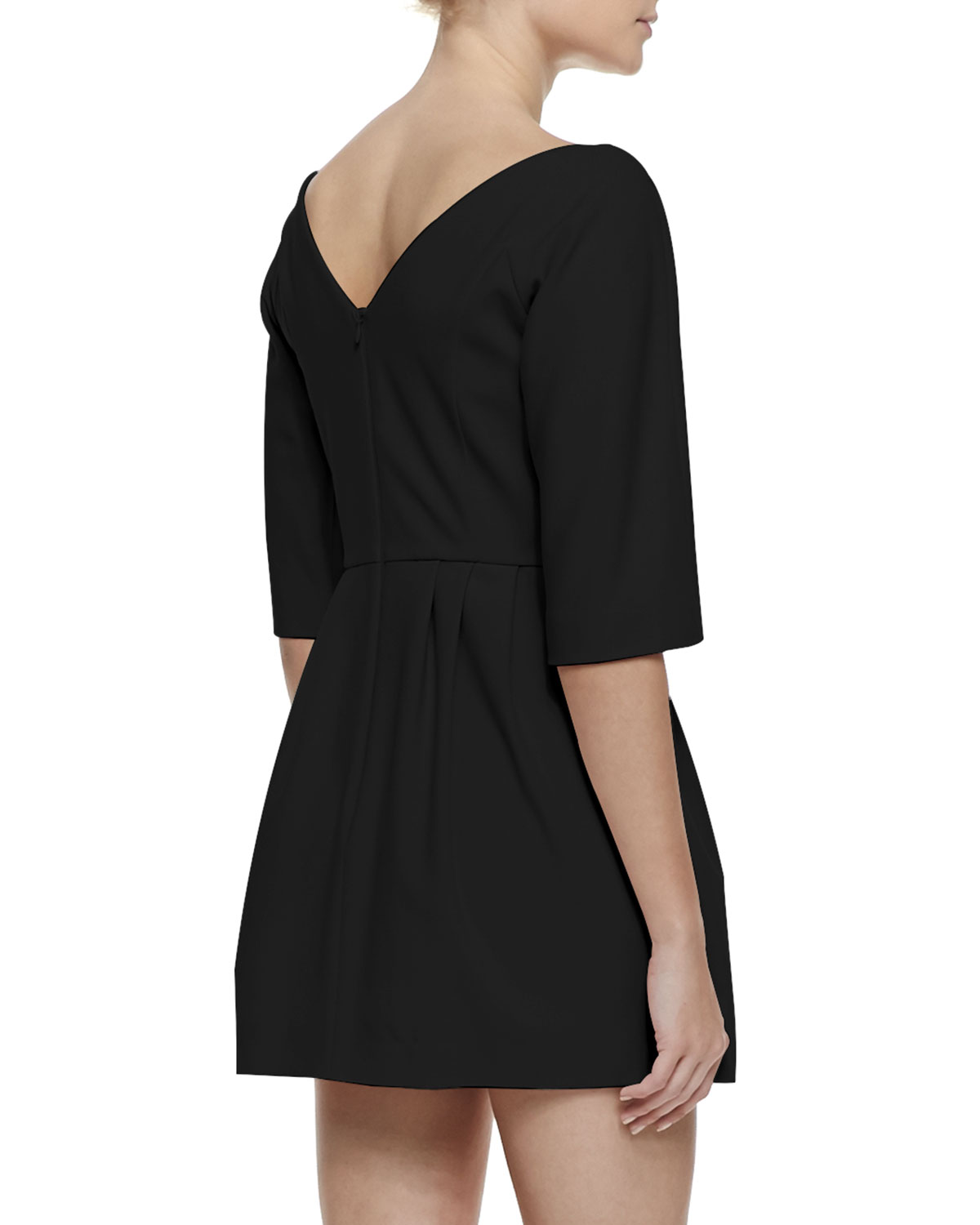3/4-Sleeve Bow-Waist Dress with Vd Back, Black
