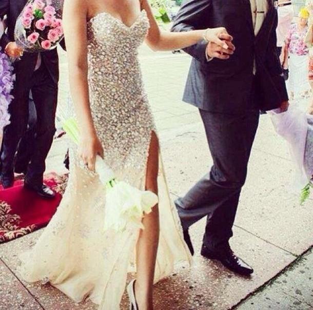 dress, white, wedding dress, diamonds - Wheretoget