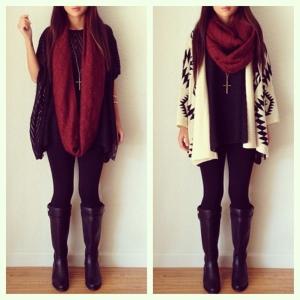 sweater leather boots black and white cardigan infinity scarf boots black burgundy aztec sweater oversized sweater scarf