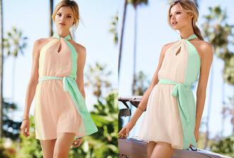 dress cream green collar pink