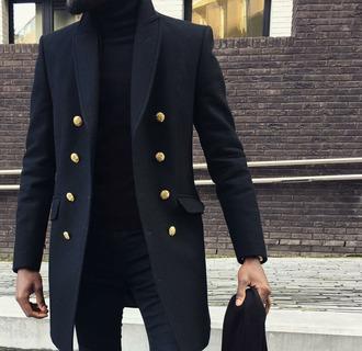 coat menswear gold all black everything black dress black coat mens coat style stylish