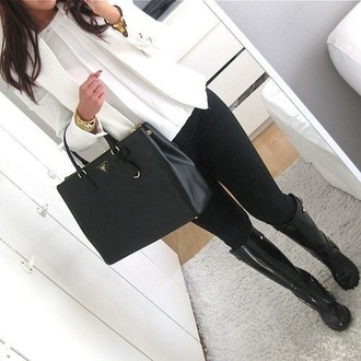 blouse white blouse thin we heart it girly style jacket white jacket selfie black jeans purse prada handbag blogger jeans boots prada handbags bag belt
