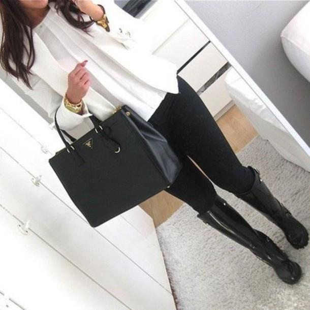 prada handbag black and white