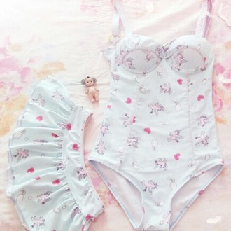 swimwear pale pink cute lovely one piece white heart unicorn pegasus clouds rainbows