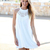 White Halter Dress - White Sleeveless Halter Lace Dress | UsTrendy