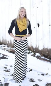 skirt,striped skirt,maxi skirt,black and white,chevron,lemongrass