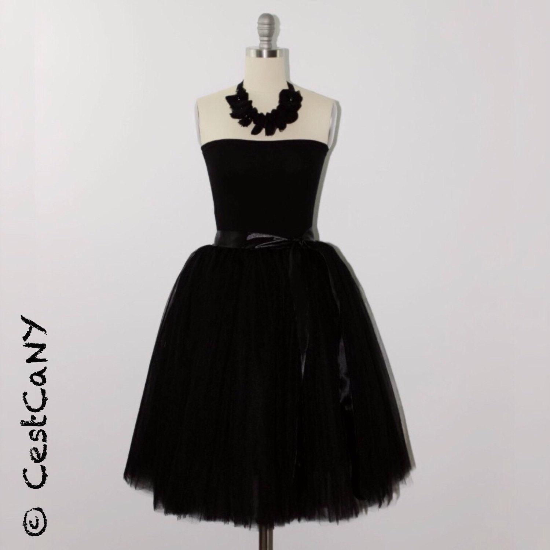 Cassie black tulle skirt, layered puffy princess tutu, knee