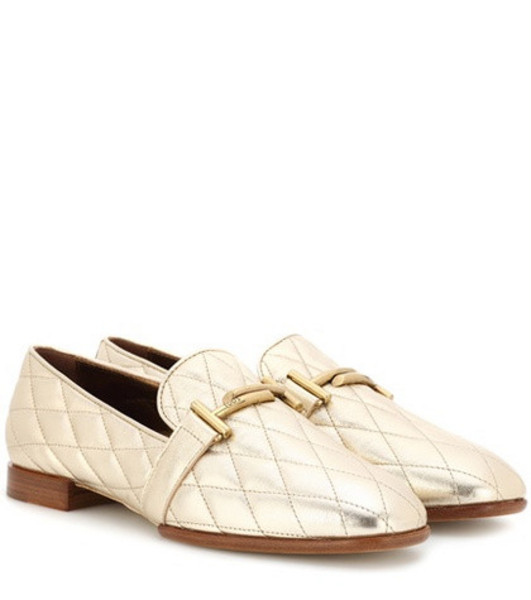 Tod's Double T leather loafers in gold