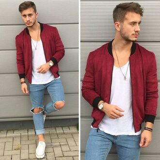jacket maniere de voir deep red suede bomber jacket blogger burghundy faux 36683 menswear