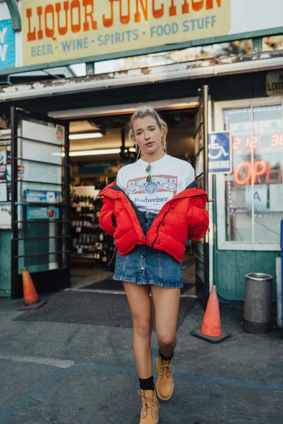 hustle and halcyon blogger jacket t-shirt jeans shoes red jacket denim skirt button up denim skirt boots winter outfits