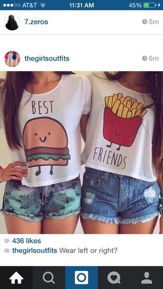 shirt fries and hamburger bff shirts