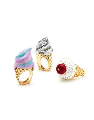 jewels ring pastel gold ice cream pink purple grey white kitchie cute kawaii