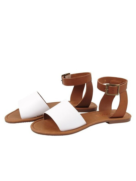 shoes white brown leather tan sandals beach festival summer buckles straps