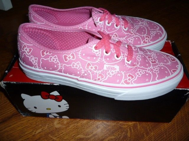 New Vans Hello Kitty Pink White Canvas Skate Shoes Sz 7 | eBay