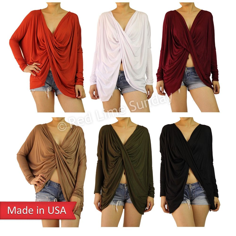 Women Solid Color Wrapped Cross Open Front Long Sleeve Lightweight Shirt Top USA