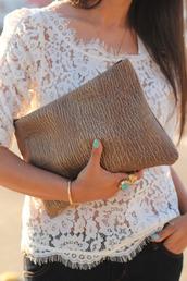 white blouse,lace blouse,blouse,bag