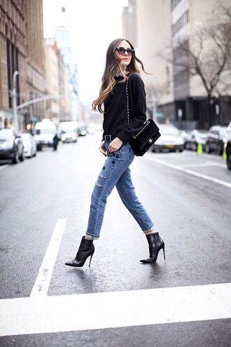 jeans tumblr jacket embroidered embroidered jeans cropped jeans boots black boots ankle boots high heels boots pointed boots sweater black sweater bag black bag sunglasses