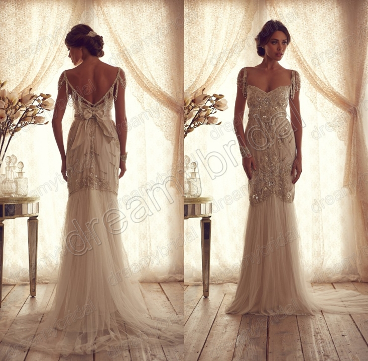 Buy sexy vestidos de chiffon backless for Vintage backless wedding dresses