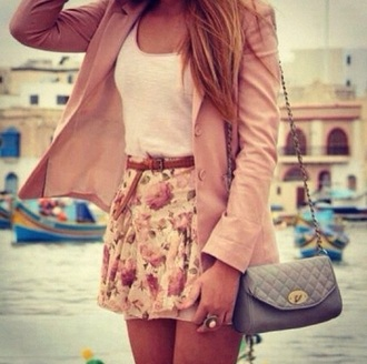 skirt floral skirt white top pink coat bag