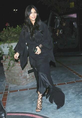 jacket dress all black everything sandals skirt asymmetrical kim kardashian kimono shoes