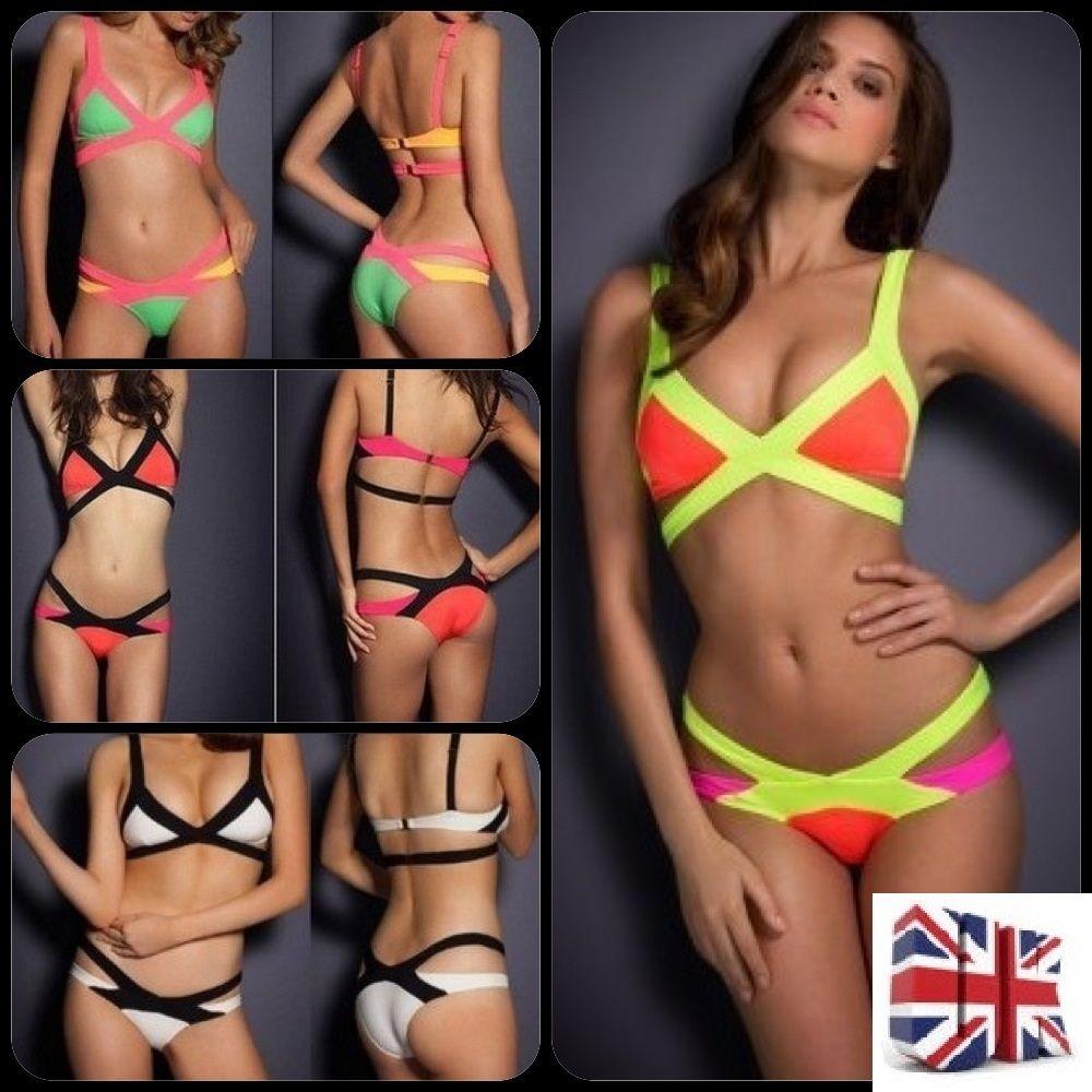 Sexy womens bandage bikini set padded swimsuit beachwear swimwear