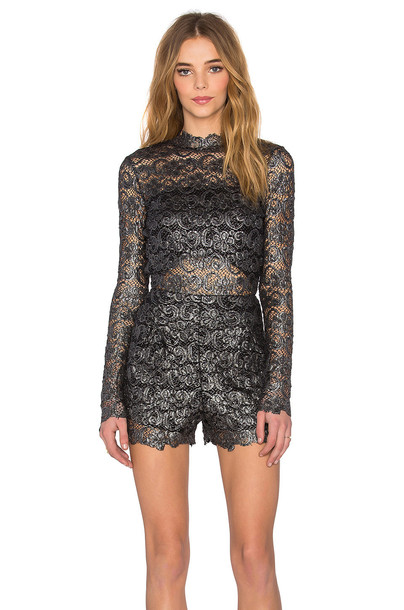Nightcap Metallic Dixie Lace Romper in charcoal