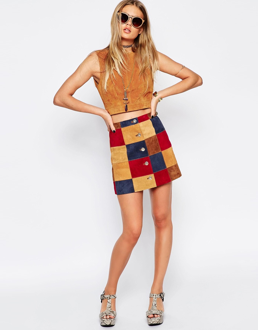 A Line Skirt In Patchwork Suede With Button Through at asos.com