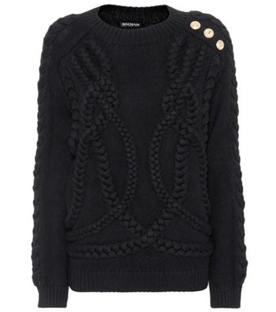 Balmain sweater wool knit black