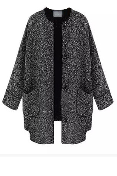 Breasted collarless coat with double pockets front