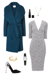 dress,petrol coat,wool coat,metallic shoes,work outfits,office outfits,grey dress,coat,jewels,make-up,shoes