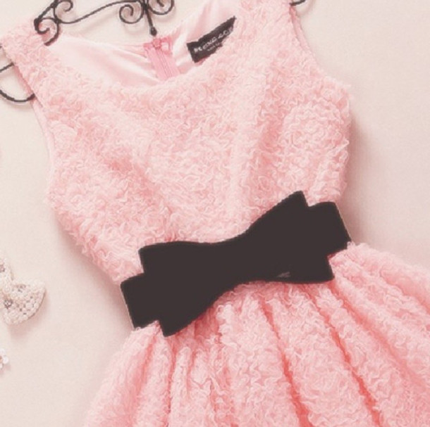 dress pink dress pink black pink dress with black bow