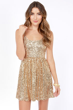 Pretty Gold Dress - Sequin Dress - Cocktail Dress - Skater Dress - $45.00