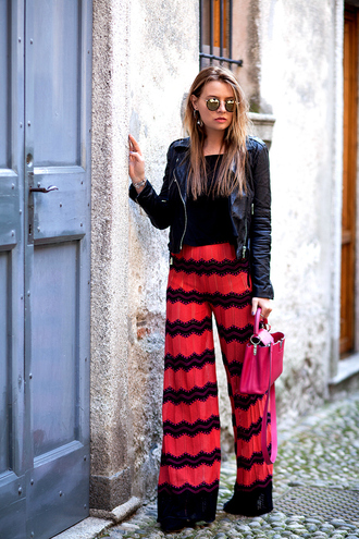 the fashion fruit blogger wide-leg pants leather jacket chevron pink bag mirrored sunglasses