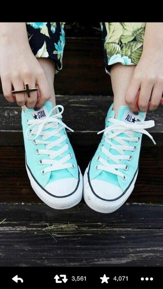 shoes tiffany blue teal converse pretty no one will have them unique
