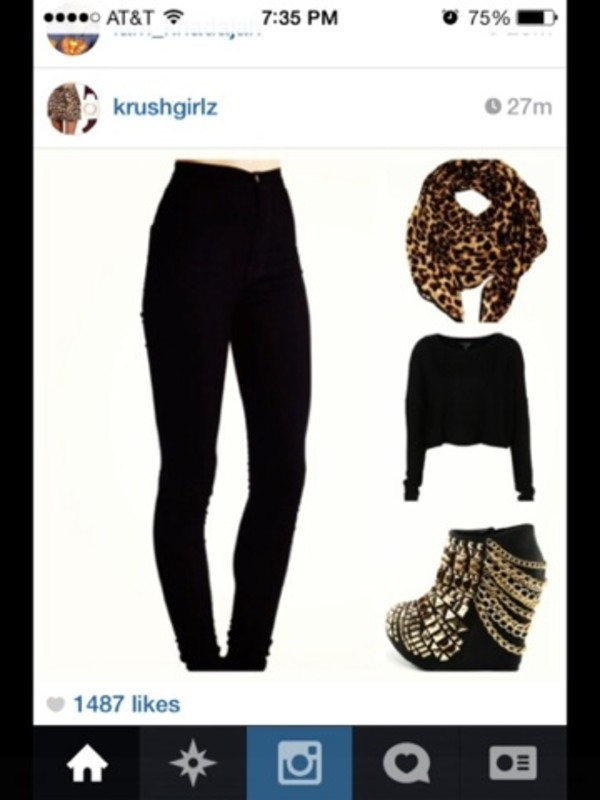 shoes wedges black gold chain scarf sweater