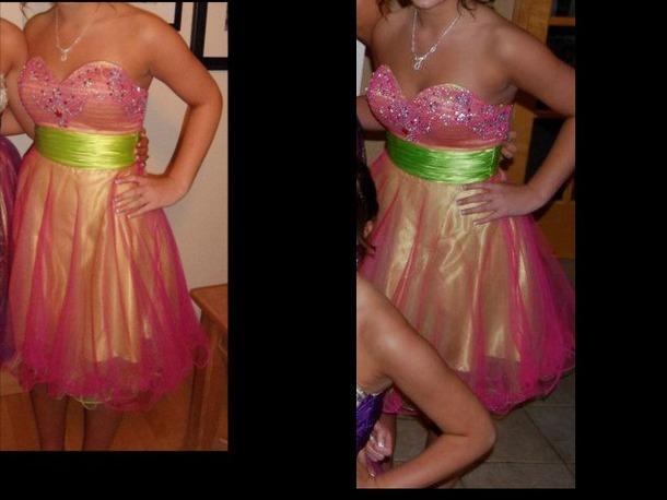 dress green yellow gold pink dress gold dress green belt green dress yellow underskirt homecoming dress prom pink tulle dress tulle skirt tulle prom dress prom dress homecoming