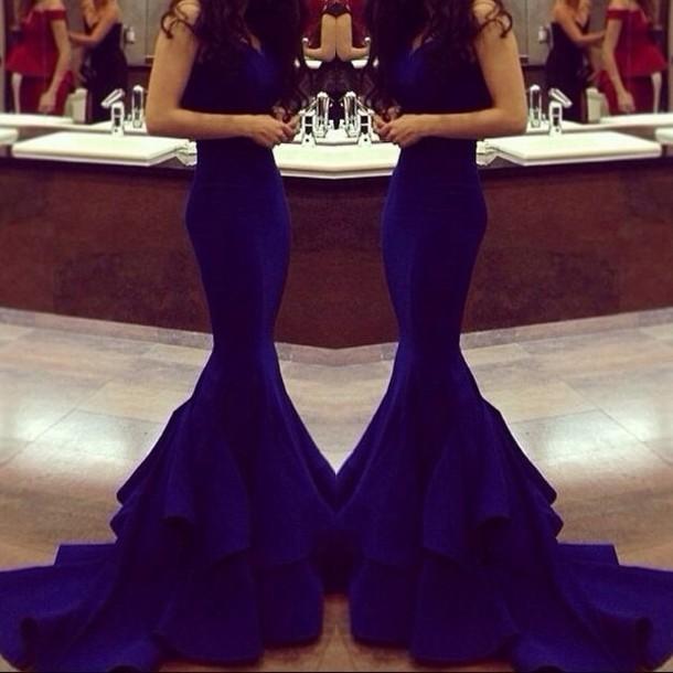dress long dress fashion slim dress slim fit dress wonderfull mermaid evening dress royal blue dress blue dress prom dress tights fancy