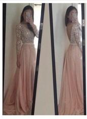 dress,pretty,long,long sleeves,baby pink,pink,diamonte,diamonds,sparkle,glitter