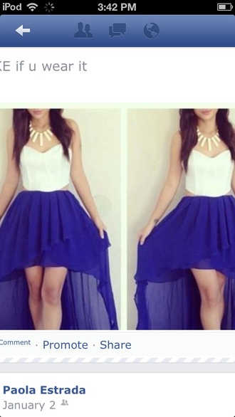dress cut-out high-low dresses high low blue skirt bustier dress white corset dress open sides clothes prom dress tank top
