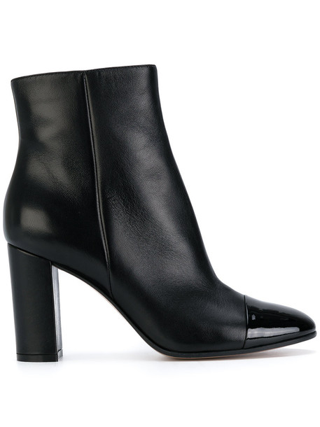 Gianvito Rossi heel women ankle boots leather black shoes