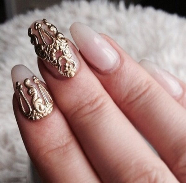 jewels nails gold ring finger nails nail accessories nail art french polish fashion style blouse