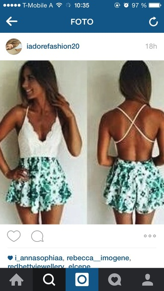 jumpsuit green white jumper dress summer nice