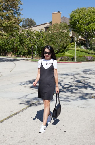 posh classy mom – a lifestyle blog by sheree blogger dress t-shirt shoes bag dress over t-shirt black dress slip dress black slip dress white t-shirt black bag sunglasses black sunglasses adidas adidas shoes adidas superstars low top sneakers white sneakers sneakers summer black dress