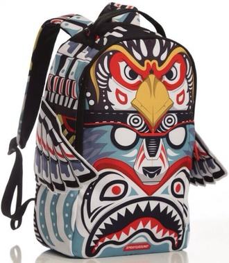 bag animals backpack yellow eagle bear totem print printed backpack