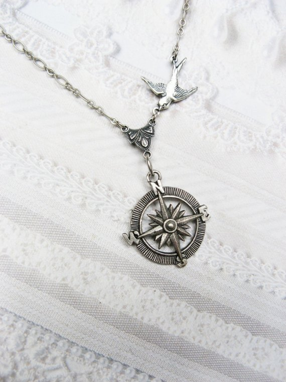 Silver Compass Necklace  Silver Guidance  Steampunk by birdzNbeez