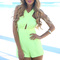 Yellow jump suits/rompers - neon yellow playsuit with cut-out | ustrendy