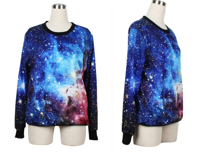 HOT 2013 Women Pullover Shining Galaxy Universe Blue Custom Hoodie Digital Print Loose Supernova Sale Wholsale S117 199~219-in Hoodies & Sweatshirts from Apparel & Accessories on Aliexpress.com