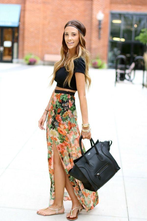 skirt floral black crop top black handbag leather purse white sandals top jewels